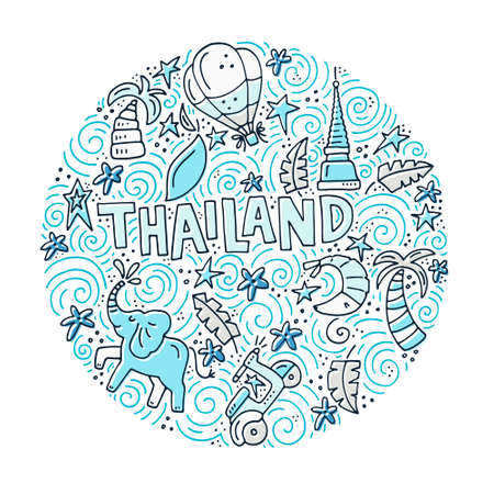 Circle illustration of Thailand with all main symbols of a country.