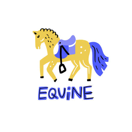 Horse and lettering equine - horse riding illustration.