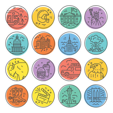 Vector set of line icons with symbols of United States. Stock Illustratie