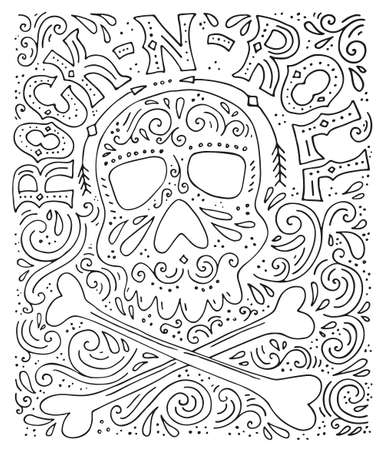 Unique lettering with sign rock-n-roll and illustration of a skull. Vector typography. Design of a t-shirt, bag or other apparel. Illustration for rock concert.