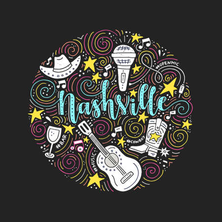 The circle with the Nashville - country music capital of USA. Vector Illustration.