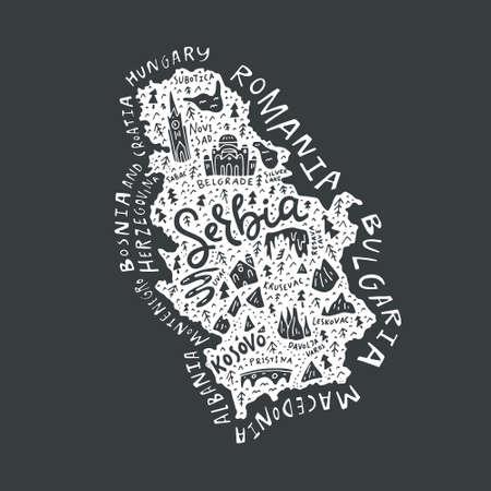 すべての主要な観光とセルビアの漫画の地図.