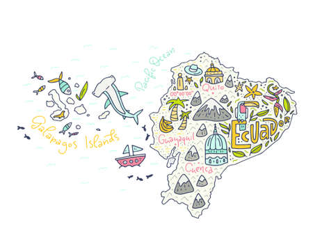 Cartoon map of Ecuador and Galapagos Islands - hand drawn illustration with all main symbols. Vector art. Ilustração