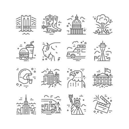 Vector set of line icons with symbols of United States. Vectores