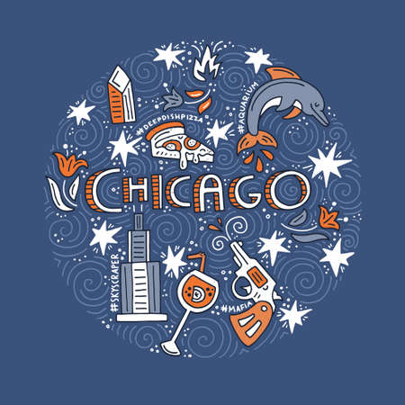 Hand drawn circle concept of Chicago with all main symbols of this city. Vector illustration.