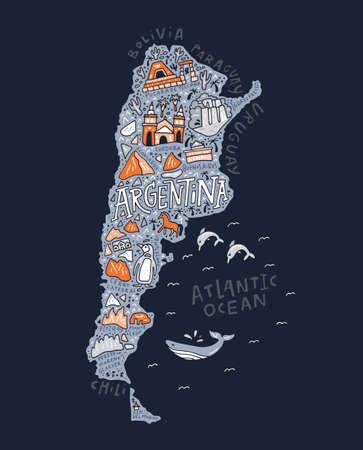 Der Karikaturmann mit den Symbolen einer Argentinien-Vektorillustration. Vektorgrafik