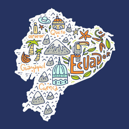 Cartoon map of Ecuador - hand drawn illustration with all main symbols. Vector art.
