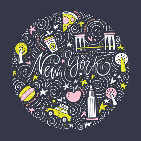 Handdrawn vector illustration with all symbols of New York and lettering.