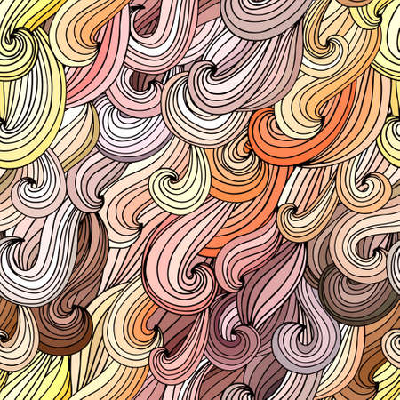 Colorful seamless pattern with abstract waves. Vector hairy background. Abstract lines and curves. Illustration