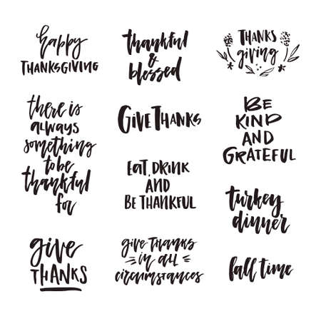 Big collection of hand written hansgiving lettering. Give thanks, be thankful and other thanks giving quotes.