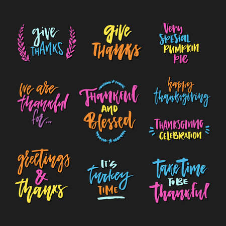 Colorful collection of thanksgiving lettering Vektorové ilustrace