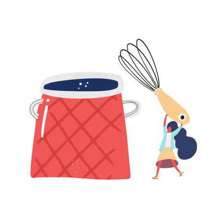 Big red pot and small lady with a wire whisk. Cooking illustration. Cartoon style.
