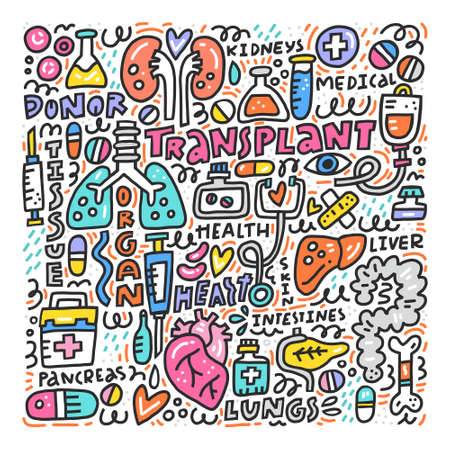 Human organs for surgeries and  transplantation. Medicine handdrawn icons. Vector illustration made in doodle style, colourful design.
