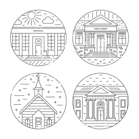 Vector illustration of different govenmental buildings including church, post office, museum. Trendy line style vector illustration. City architecture concept. Government buildings.
