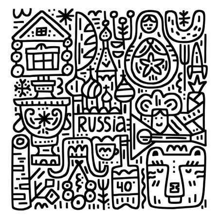 Collection of famous Russian images, black and white doodle style. Handdrawn vector illustration.