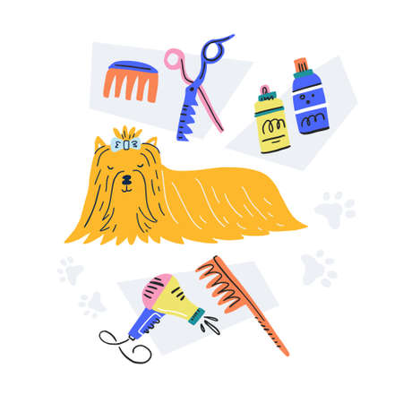Dog and some grooming tools. Vector illustration made by hand in doodle style. Useful for postcards, banners, pet salon design. Illustration