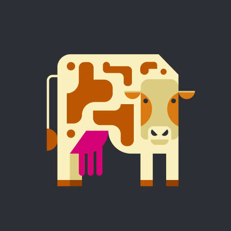 Vector illustration of a cow made in flat vector style Foto de archivo - 106186056