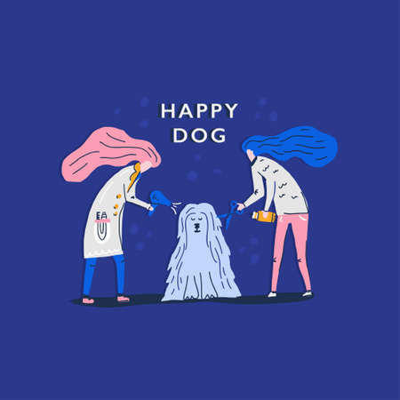 Happy dog vector concept. Two women combing the dog. Hand drawn illustration made in cartoon style. Illustration