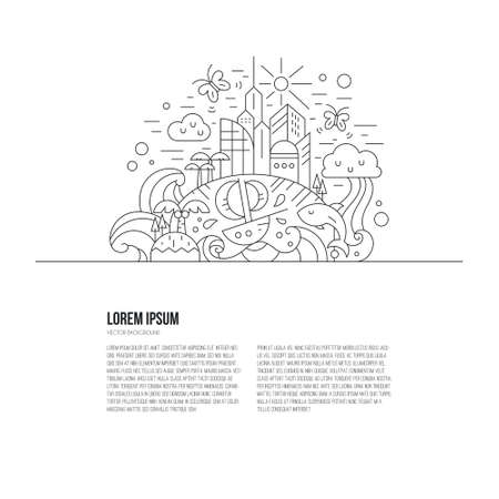 Travel around the world concept made in thin line vector style. Imagination and creatinve thinking illustration with place for your text.