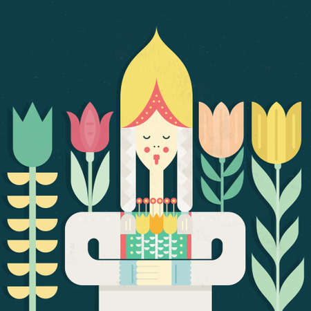 Dutch girl in traditional clothes - symbol of Holland made in flat vector style with tulips on the background