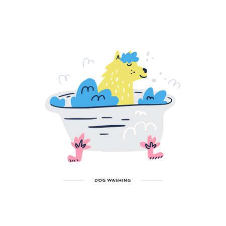 Dog is taking the bath. Pet salon concept. Doodle style vector illustration. Çizim