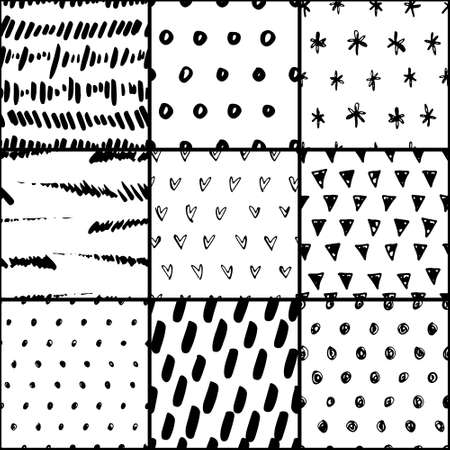 Handdrawn seamless pattern collection. Simple texture for backround, fabric or other types of design. 写真素材 - 112157338
