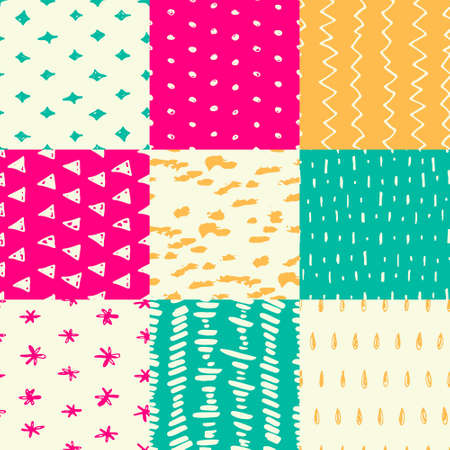 Handdrawn seamless pattern collection. Simple texture for backround, fabric or other types of design.