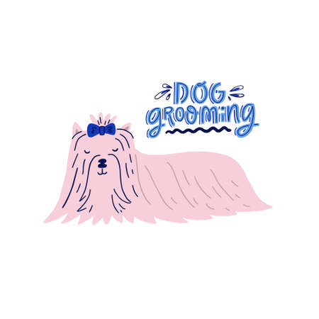 Hand drawn dog grooming concept. Vector icon for pet salon. Illustration