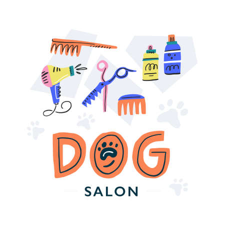 Dog salon design with several grooming tools. Vector illustration made by hand in doodle style. 일러스트