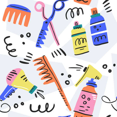 Boundless pattern with set of grooming tools. Pet salon vector concept. Standard-Bild - 112157349