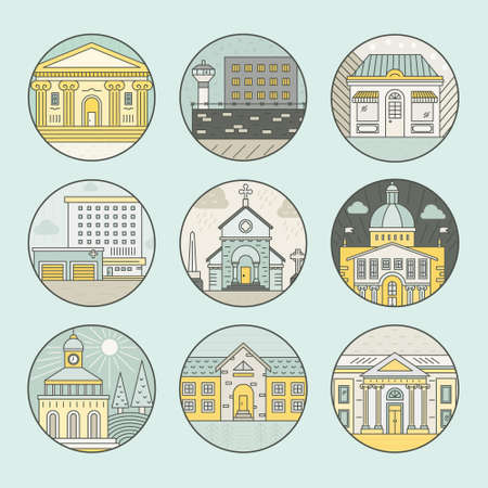Vector illustration of different govenmental buildings including capitol, museum, hospital. Trendy line style vector illustration. City architecture concept. Government buildings.
