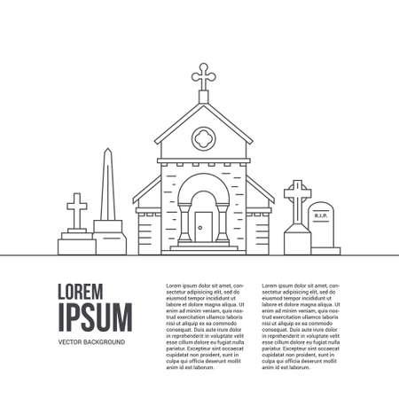 Modern lijnstijl vector cementry concept met plaats voor uw tekst. Grafstenen en kerkje geïsoleerd op een witte achtergrond.