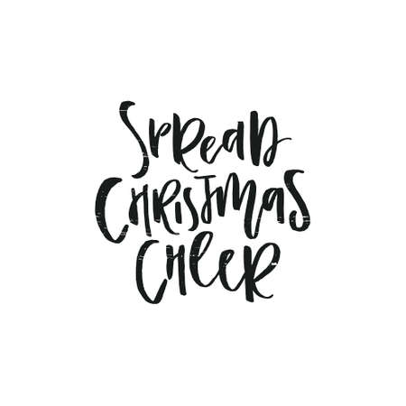 Christmas lettering and calligraphy designs. Handwritten phrases. Modern brush font on Xmas theme. Spread Christmas cheer. Stok Fotoğraf - 112118146