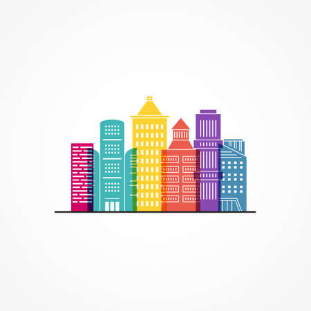 Illustration of office buildings - cityscape made in trendy line style vector. Modern city skyline. Office buildings - graphic element for real estate or construction company. Modern life concept. Urban landscape. Zdjęcie Seryjne - 112118147