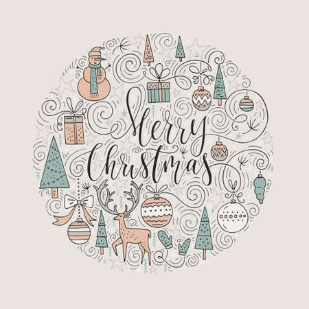 Perfect handmade lettering for holiday decorations with cute illistrations. Trendy New Year design. Handdrawn design elements for perfect cards and invitations. Circle vector Christmas greeting card design. 向量圖像