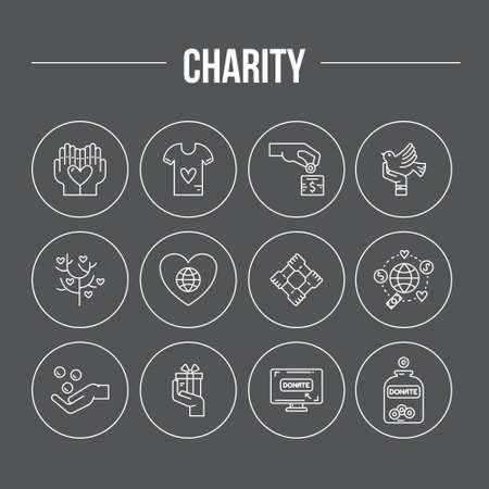 Iconos de caridad y donación en estilo de línea moderna. Ilustración de vector de mano de ayuda. Símbolos vectoriales de recaudación de fondos, obras de caridad, etiquetas para organizaciones de voluntarios sin fines de lucro.