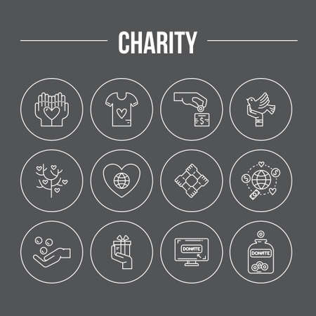 Charity and donation icons made in modern line style. Helping hand vector illustration. Vector symbols of fundraising, charity work, label for non-profit volunteer organization.