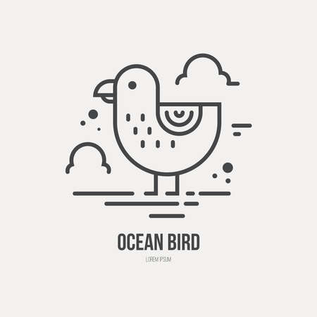 Line style logotype template with seagull. Isolated on background and easy to use. Perfect logo for your business. Clean and minimalistic symbol. Summer vacation concept. Ilustracja