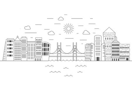 Illustration of office buildings - cityscape made in trendy line style vector. Modern city skyline. Office buildings - graphic element for real estate or construction company. Modern life concept. Urb