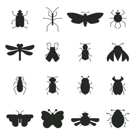 Collection of vector bug and insect silhouettes isolated on white background. Geometrical design elements made in vector. Illustration