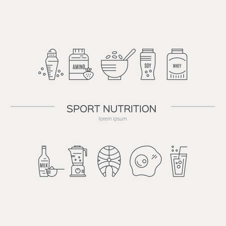 Sport nutrition or diet illustration made in vector. Healthy lifestyle series. Ilustração