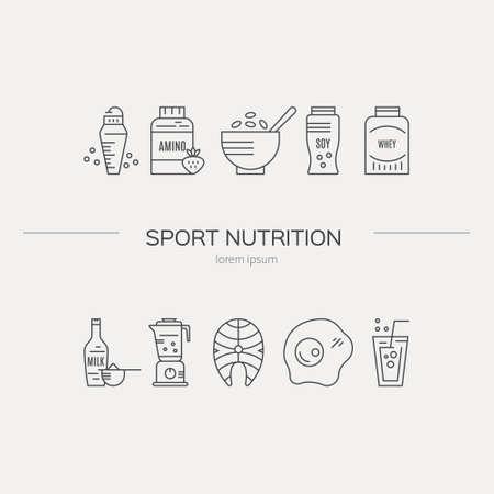 Sporternährung oder Diätillustration gemacht im Vektor. Serie für einen gesunden Lebensstil.