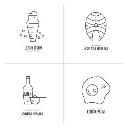 Collection of icons with sport nutrition objects. Healthy food. Gym and workout diet symbols made in vector - protein shake, amino powder. Ilustração