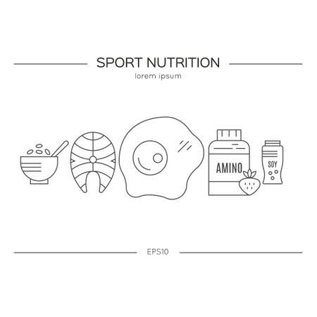 Sport nutrition or diet illustration made in vector. Healthy lifestyle series. Illustration