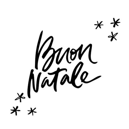 Calligraphy phrase Buon Natale - Have a Merry Christmas in Italian. Hand drawn modern lettering. Stock Illustratie