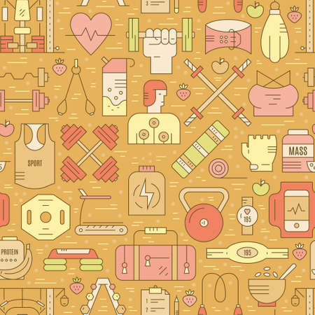 eamless pattern with different elements of healthy lifestyle. Illustration