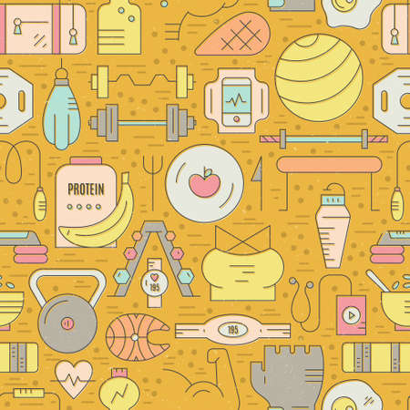 Sport and sport nutrition elements on seamless background. Gym pattern. Illustration