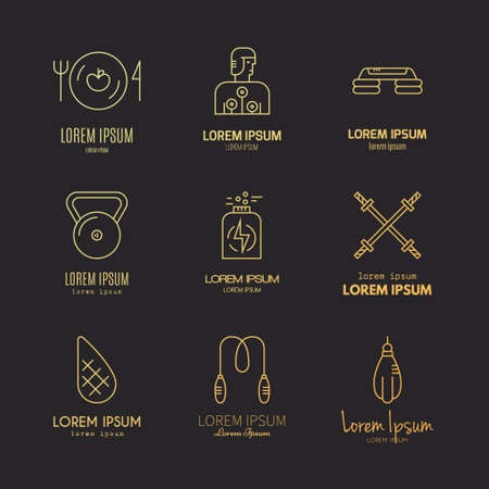 Vector collection of fitness icons. Sport lifestyle symbols. Gym equipment and healthy nutrition or diet illustrations. Thin line vector series.