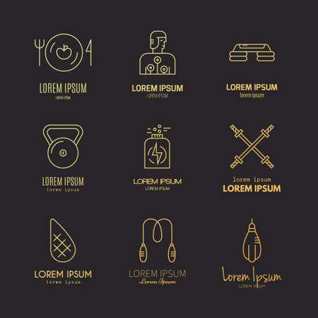 Vektor-Sammlung von Fitness-Symbolen. Sport-Lifestyle-Symbole. Fitnessgeräte und gesunde Ernährung oder Diätillustrationen. Dünne Linie Vektorserie.