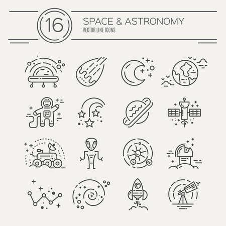 Icônes de l'espace faites dans le vecteur de style de ligne moderne. Icônes de cosmos isolés sur fond et faciles à utiliser. Symboles d'espace vectoriel propre et simple. Clipart de l'espace.